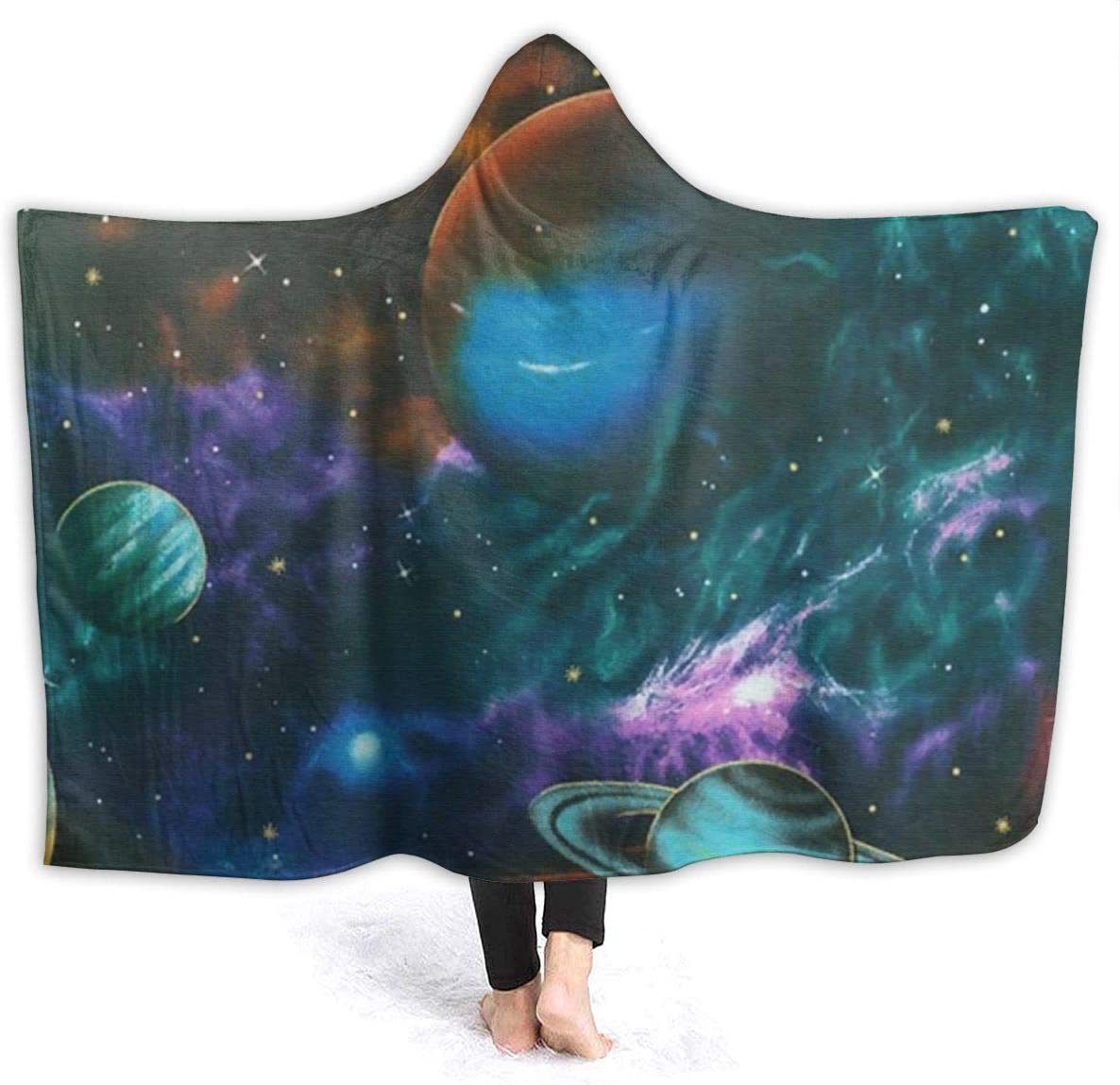 AUISS Warm Hoodie Blanket Planets Outer Space Hooded Throw Wrap Cape Cloak Robe Womens Thick School Travel Shawl Flannel with Sleeves
