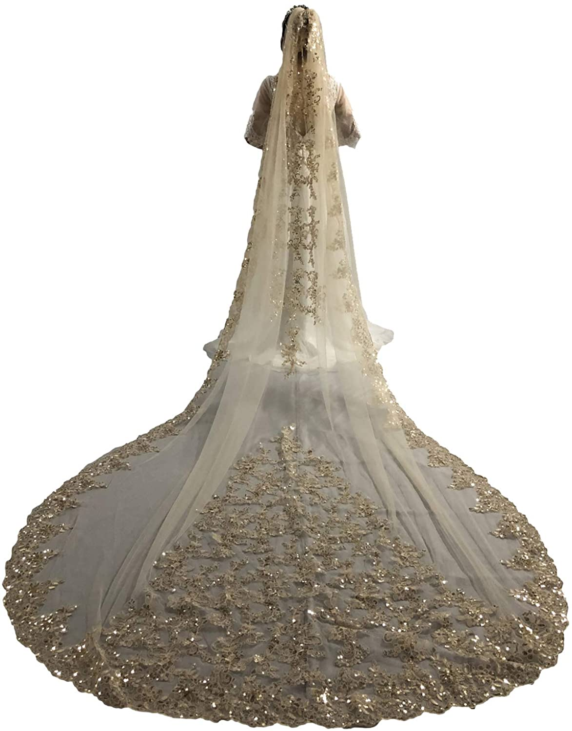 Faithclover Wedding Veils Cathedral Length 1 Tier Sequins Lace Applique with Comb