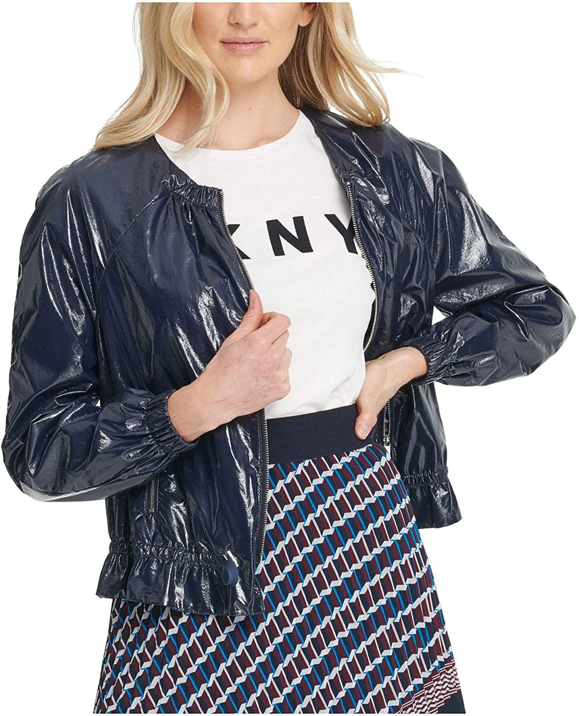 DKNY Womens Navy Bomber Jacket, Size: S