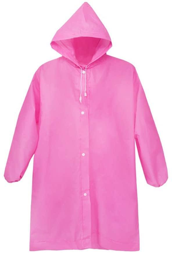 freneci Portable Windproof Rain Ponchos Hoods Travel Hiking Emergency Raincoat - Pink, 145x70cm