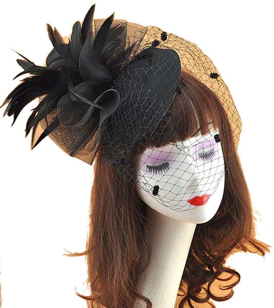 Gerilea Kentucky Derby Fascinator Hats for Women Feather Cocktail Tea Party Hats