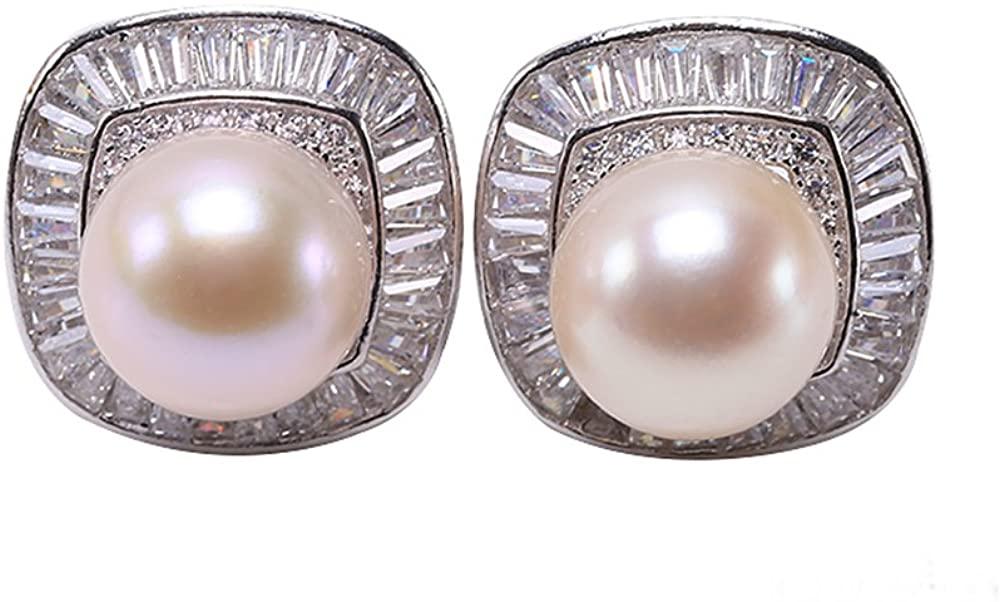 JYX White Round Freshwater Pearl Earring Studs