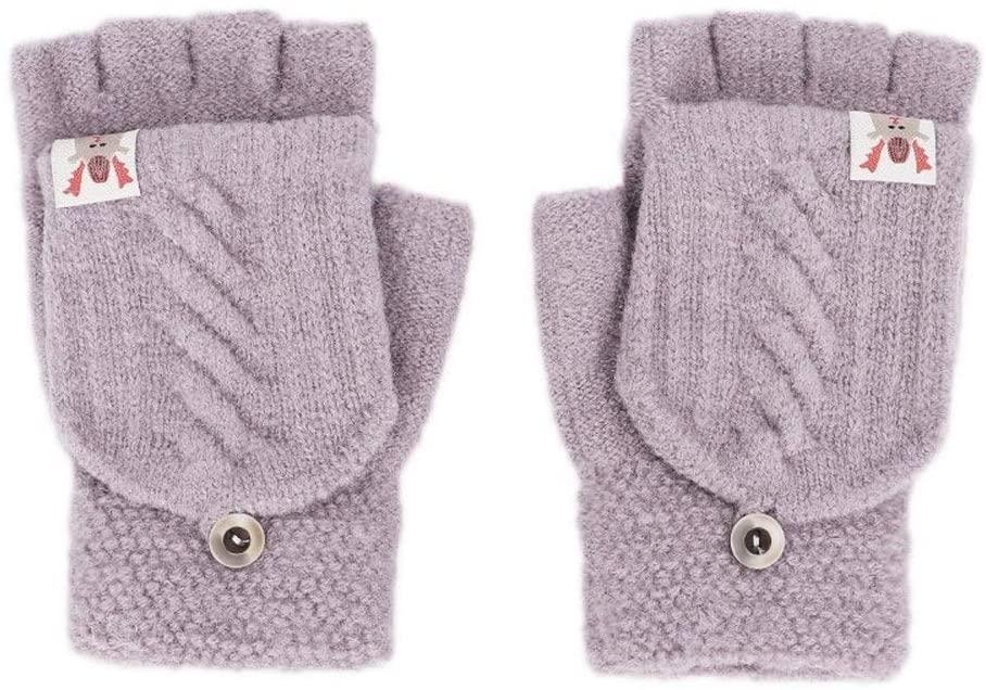 Slowoi Winter Gloves Women's Girls Gloves Solid Gloss Rabbit Hair Gloves Soft Ardent Double Women's Gloves (Color : Purpie, Size : 1)