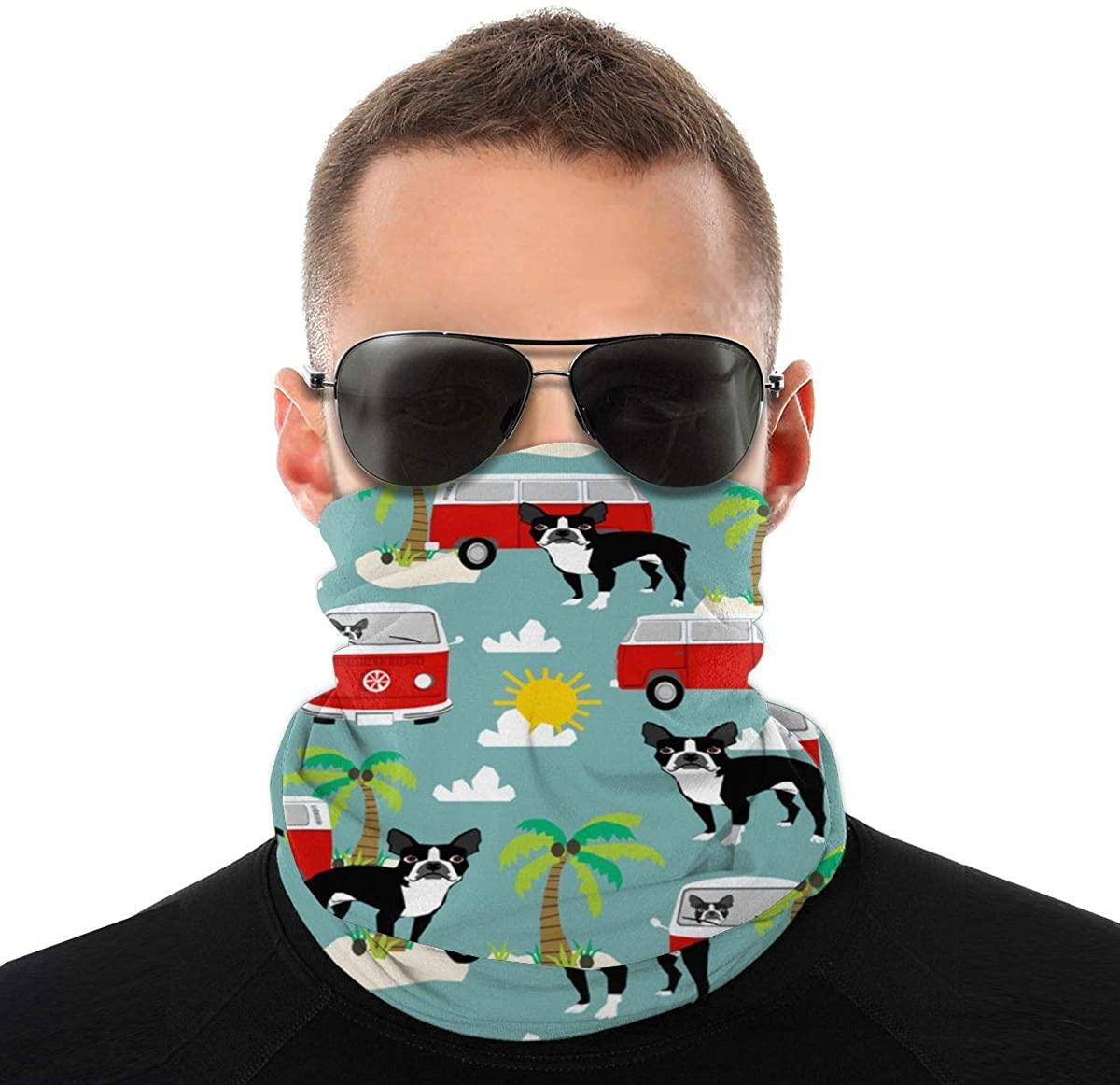 Boston Face Scarf Neck Gaiter Tube Variety Head Scarf, Multifunctional Bandanas & Balaclava Anti Dust