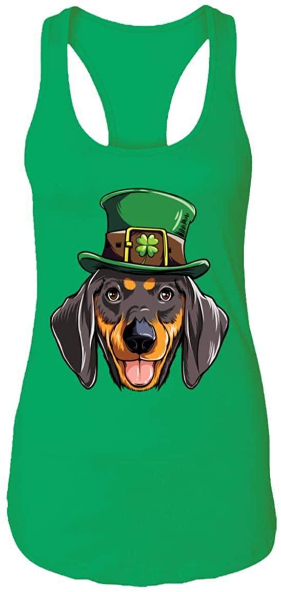Dachshund St Patricks Day Leprechaun Dog Lover Gift Racerback Tank Top - St Patricks Day Gifts