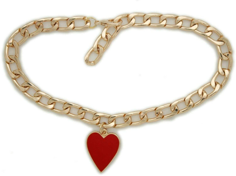 TFJ Women Western Fashion Jewelry Gold Metal Boot Chain Bracelet Shoe Red Heart Charm Love