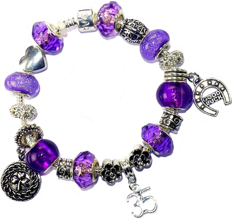 Charm Buddy 35th Birthday Purple Pandora Style Bracelet With Charms Gift Box Jewelry