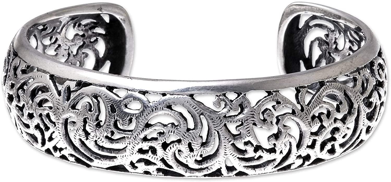 NOVICA .925 Sterling Silver Cuff Bracelet, Elegant Garland'