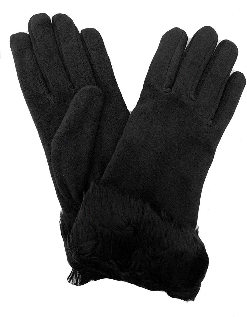 Isotoner Women's Casual Stretch Fleece Gloves One Size A56135 (Black)