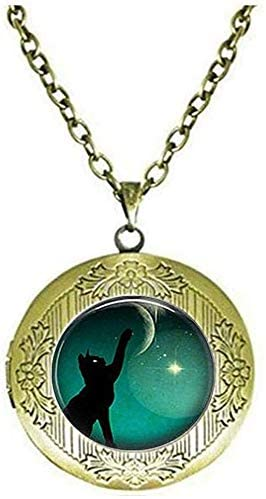 Beautiful Black Cat Moon Photo Locket Necklace Jewelry Art Nouveau Beautiful Gifts