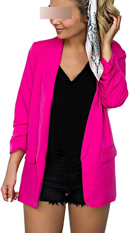 Spring Summer Women Coat Casual Long Sleeve Slim Solid Open Front Cardigan Jacket Coats #703