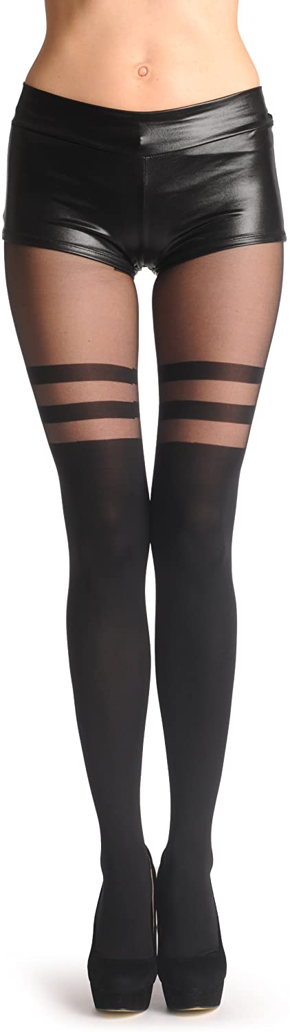 Black Faux Stockings With Striped Top 60 Den - Pantyhose