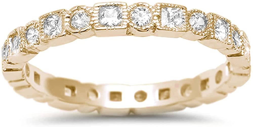 Oxford Diamond Co Sterling Silver Rose Gold Plated Antique Style Bezel Set Eternity Stackable Ring Sizes 4-10