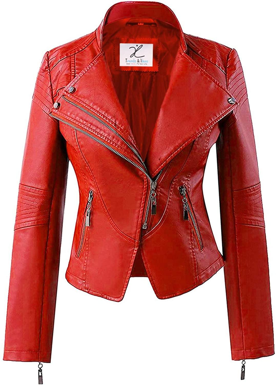 Trendz&ideas Womens Black Leather Jacket - Leather Jackets for Women