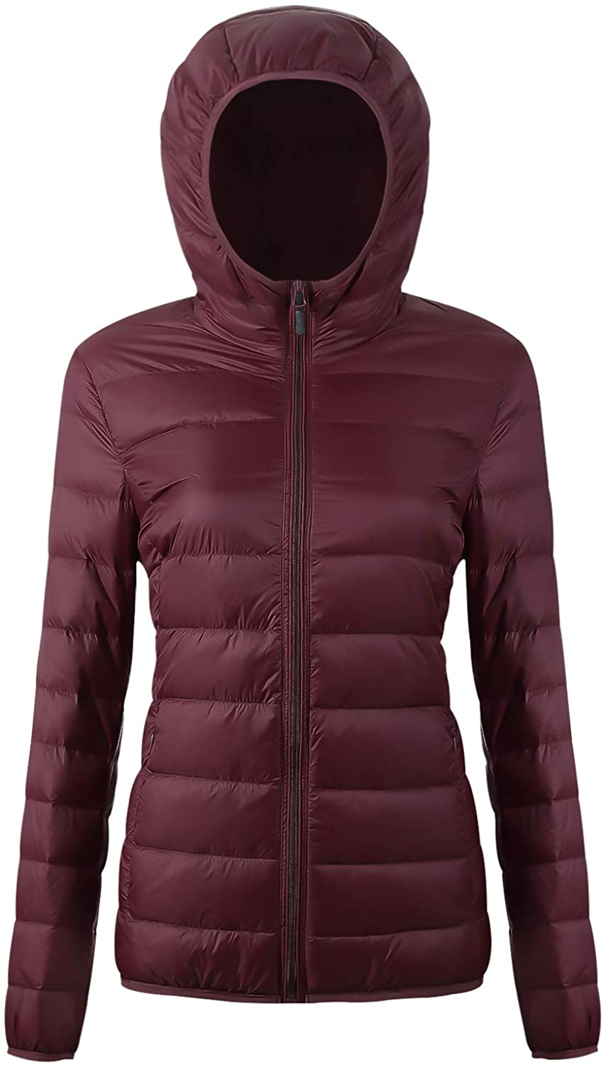 EQUICK Women's Hooded Puffer Packable Down Jacket Ultra Light Weight Short Coat with Travel Bag U219WYRF026,Wine.Red,XS