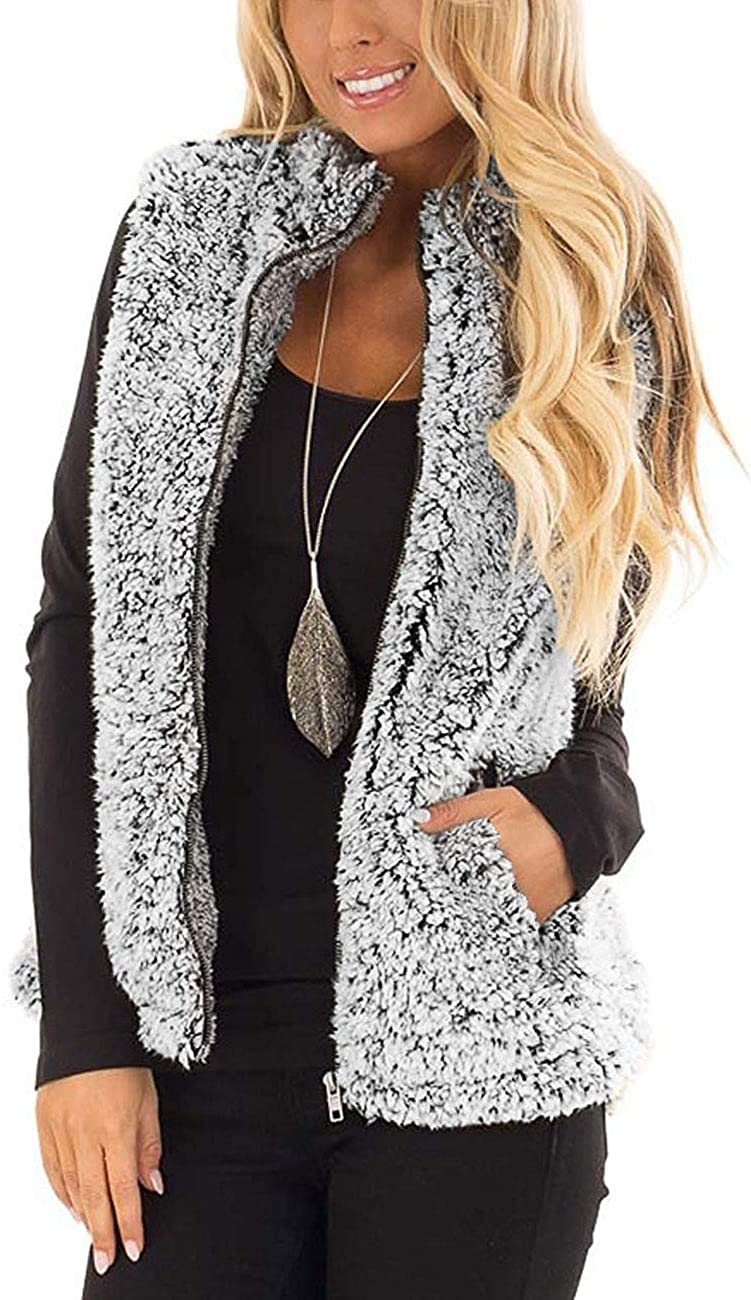 MIROL Women's Zipper Vest Sleeveless Sherpa Fleece Slim Open Front Oversized Outerwear with Pockets