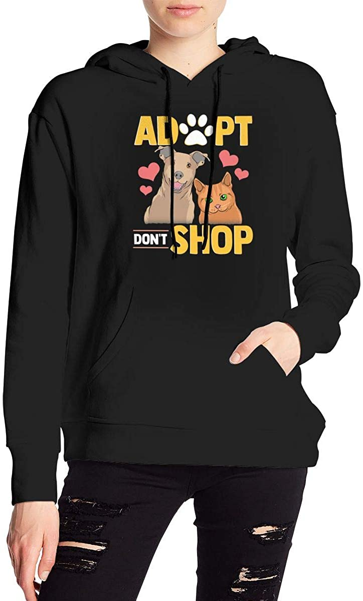 Nbcf Adopt Don't Shop Cat & Dog Women's Long Sleeve Drawstring Pullover Hoodie Pocketed Sweatshirts