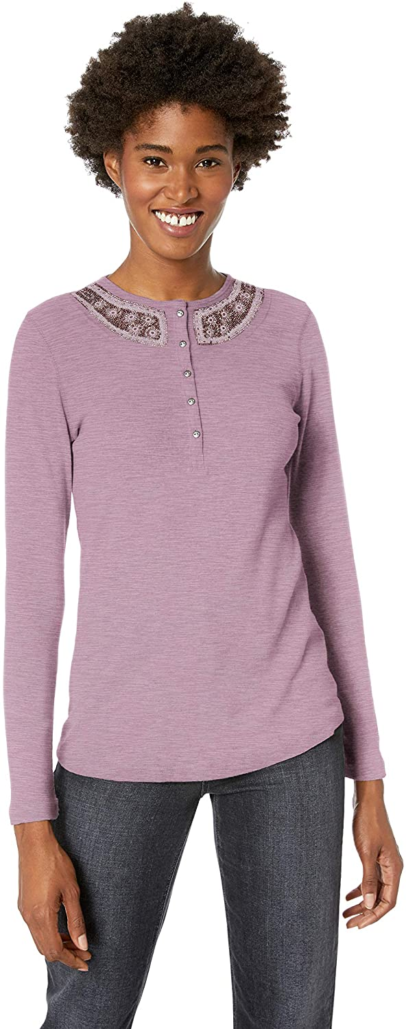Chaps Women's Solid Long Sleeve Beaded Cotton Henley