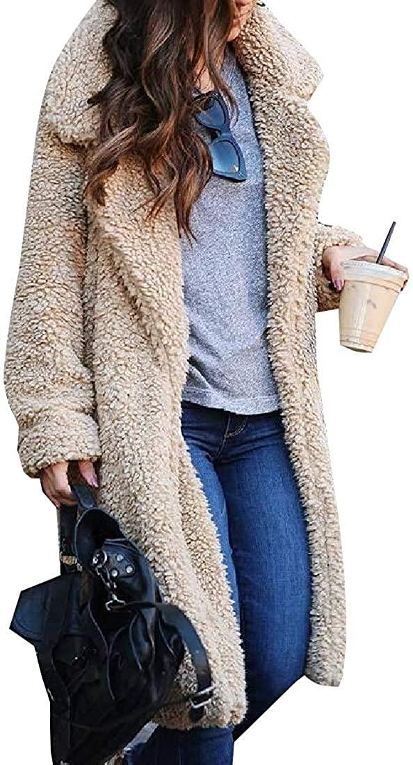 FERNMXZ Womens Winter Long Sleeve Faux Fur Shearling Warm Shaggy Oversized Coat Fuzzy Jackets