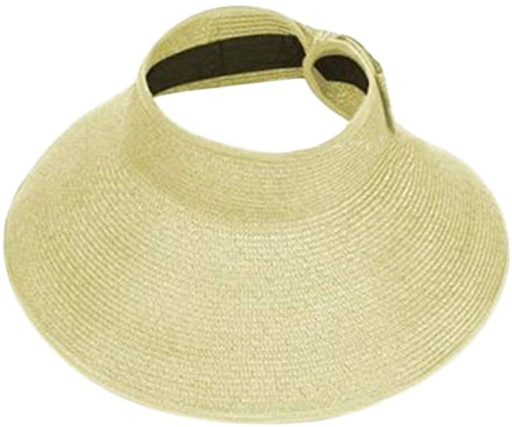 Summer Sun Hat Women Folding Roll Up Cap Wide Brim Straw Visor Cap Elegant Vacation Tour Hat