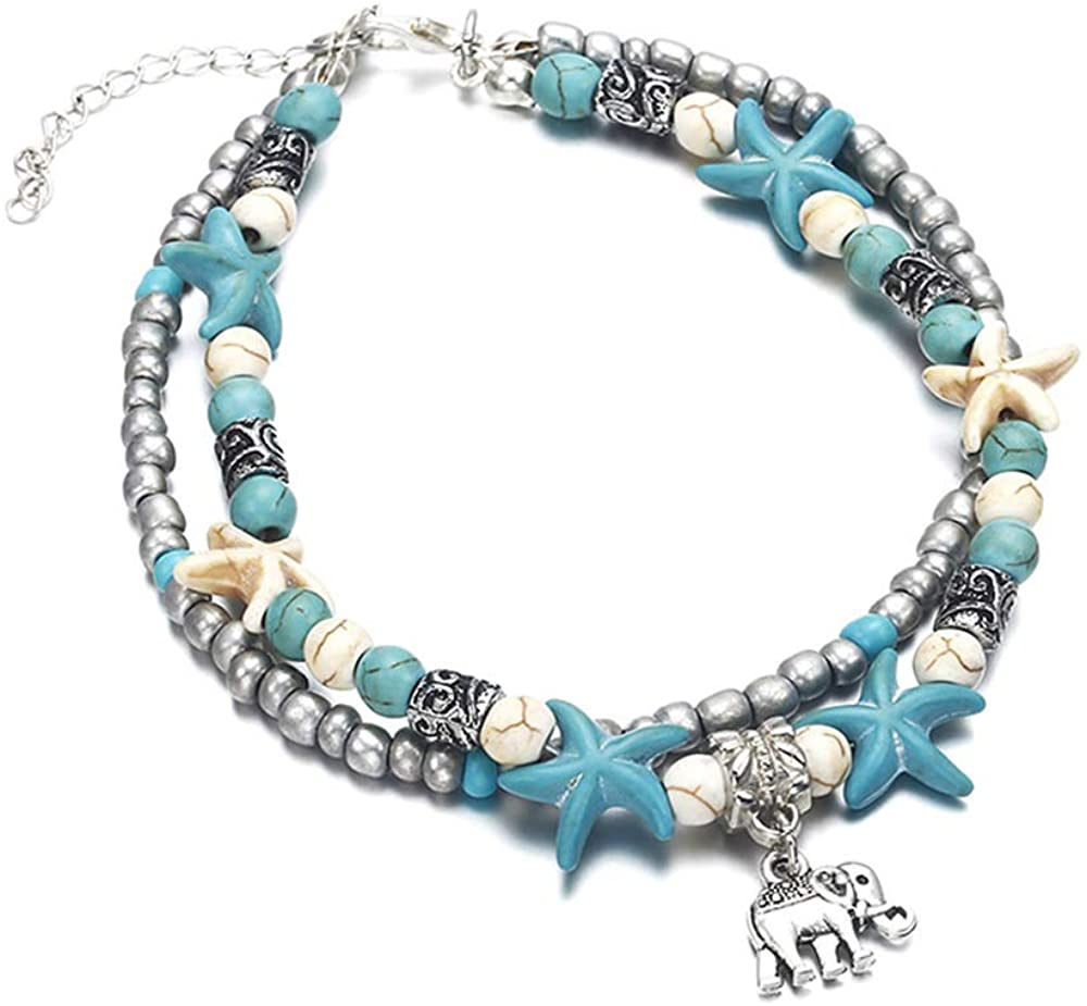 Women Anklet Summer Beach Bare Foot Jewelry Boho Sexy Double Chain Anklet Gift for Women Girls