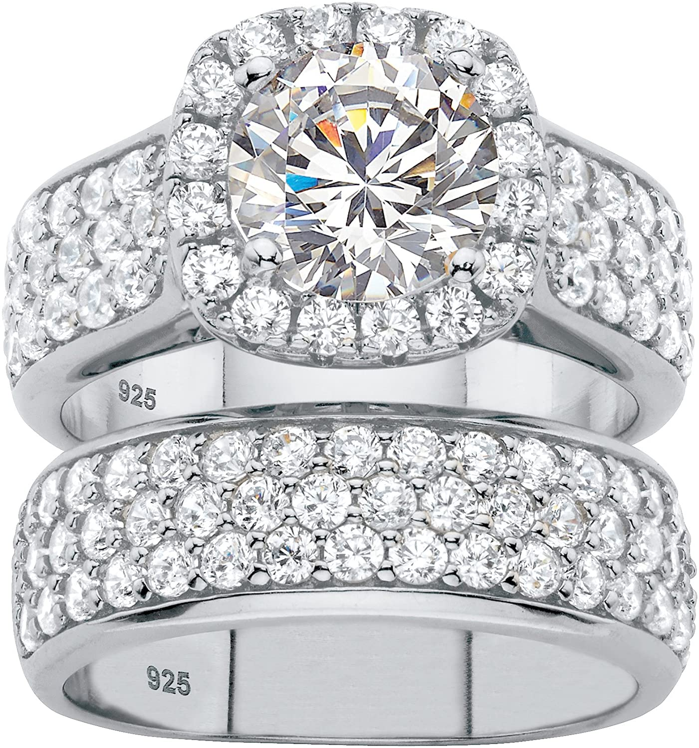 Platinum over Sterling Silver Round Cubic Zirconia 2 Pair Halo Bridal Ring Set