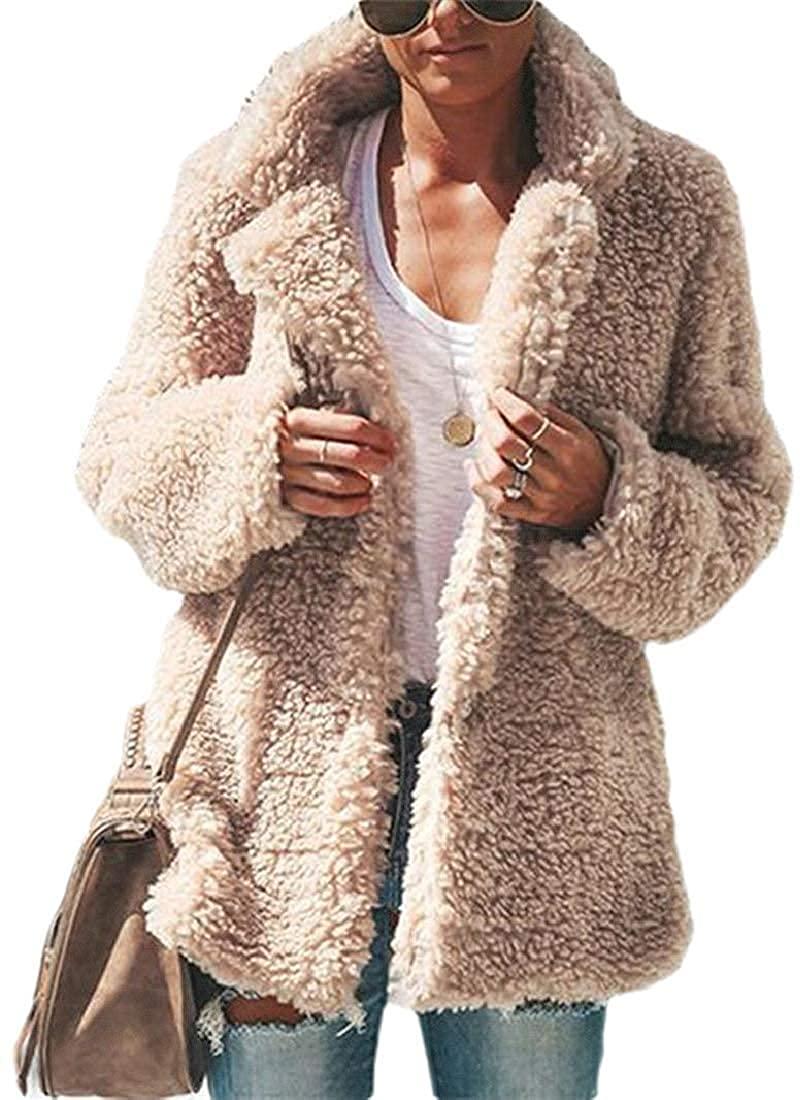 Wndxfhdscd Women Pockets Outdoor Warm Fleece Fuzzy Coat Open Front Slim Jackets,Apricot,Medium