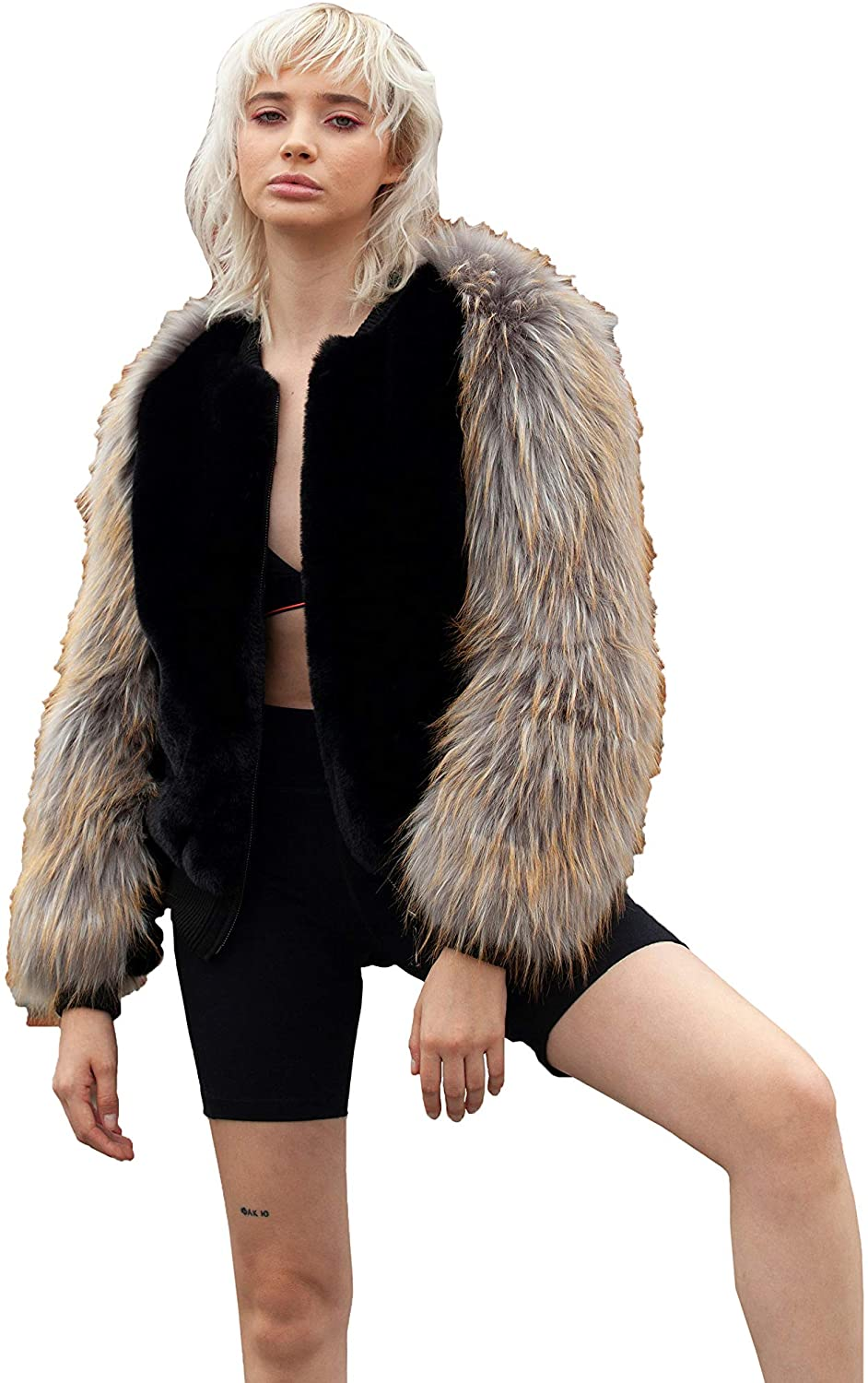 SHACI Women's Black Faux Fur Bomber Jacket with Faux Red Fox
