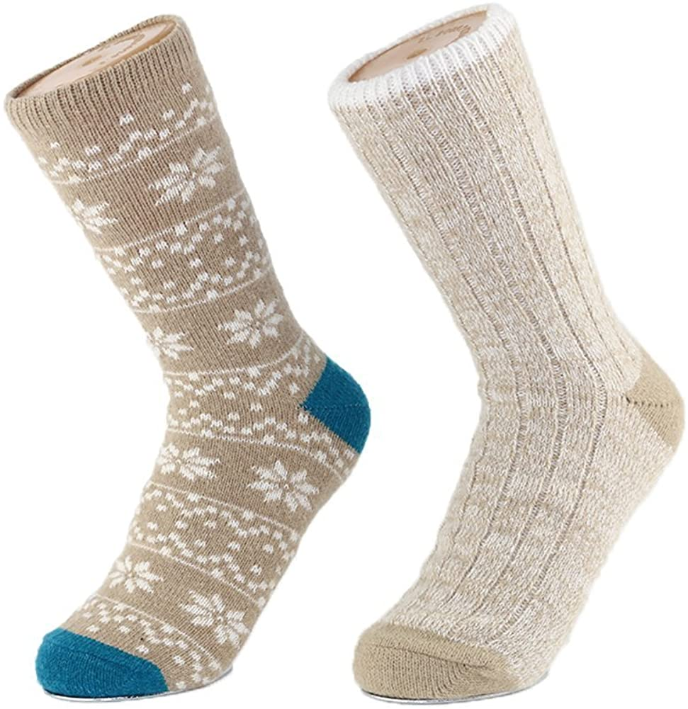 2 Pack Women's Socks for Winter Thick Warm and Cozy Jacquard Boot Womens Crew Socks