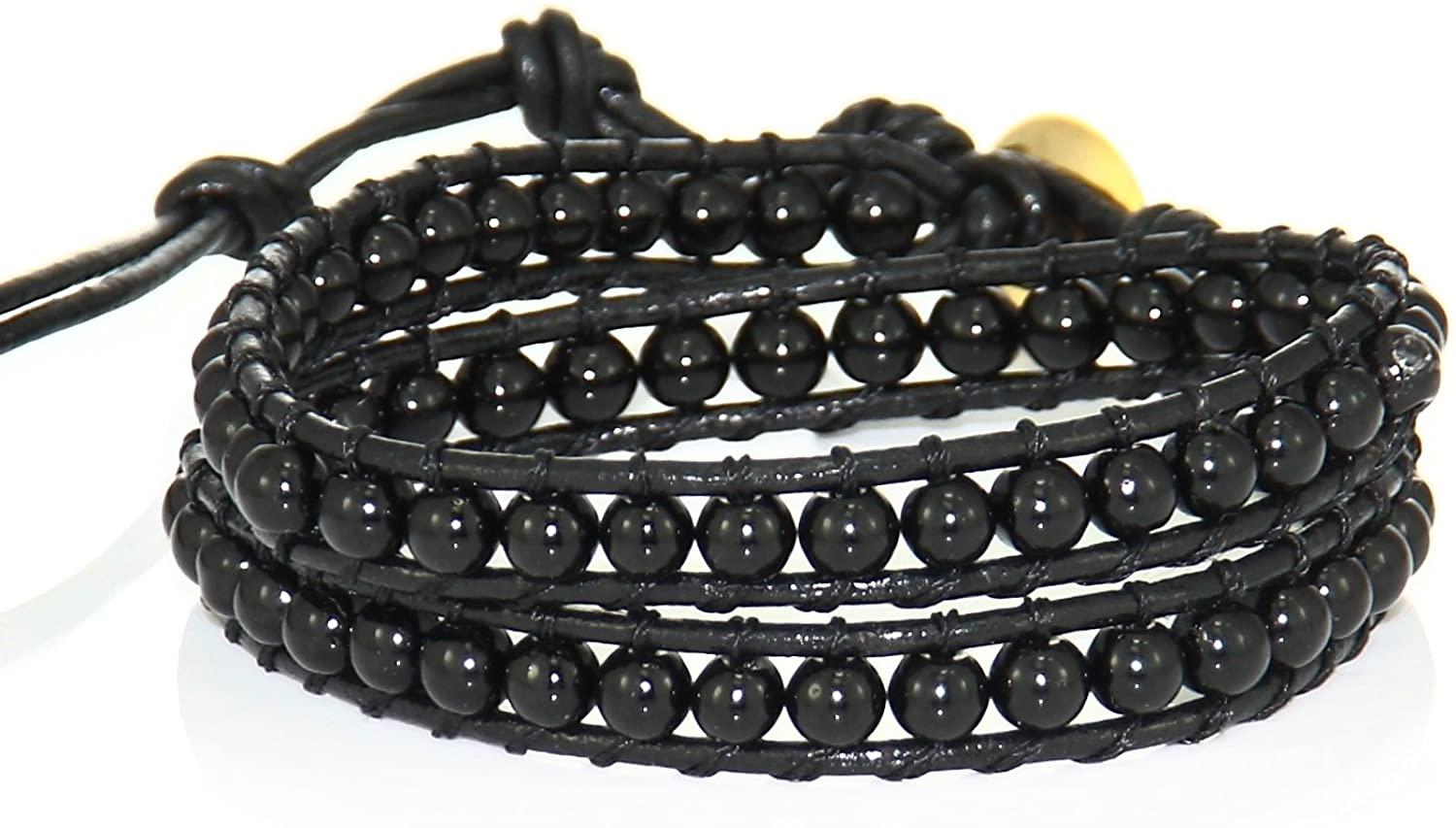 Fonhop Black Natural Agate Woven Bracelet with Gold-plated Button, 4mm Bead, 2 Wires