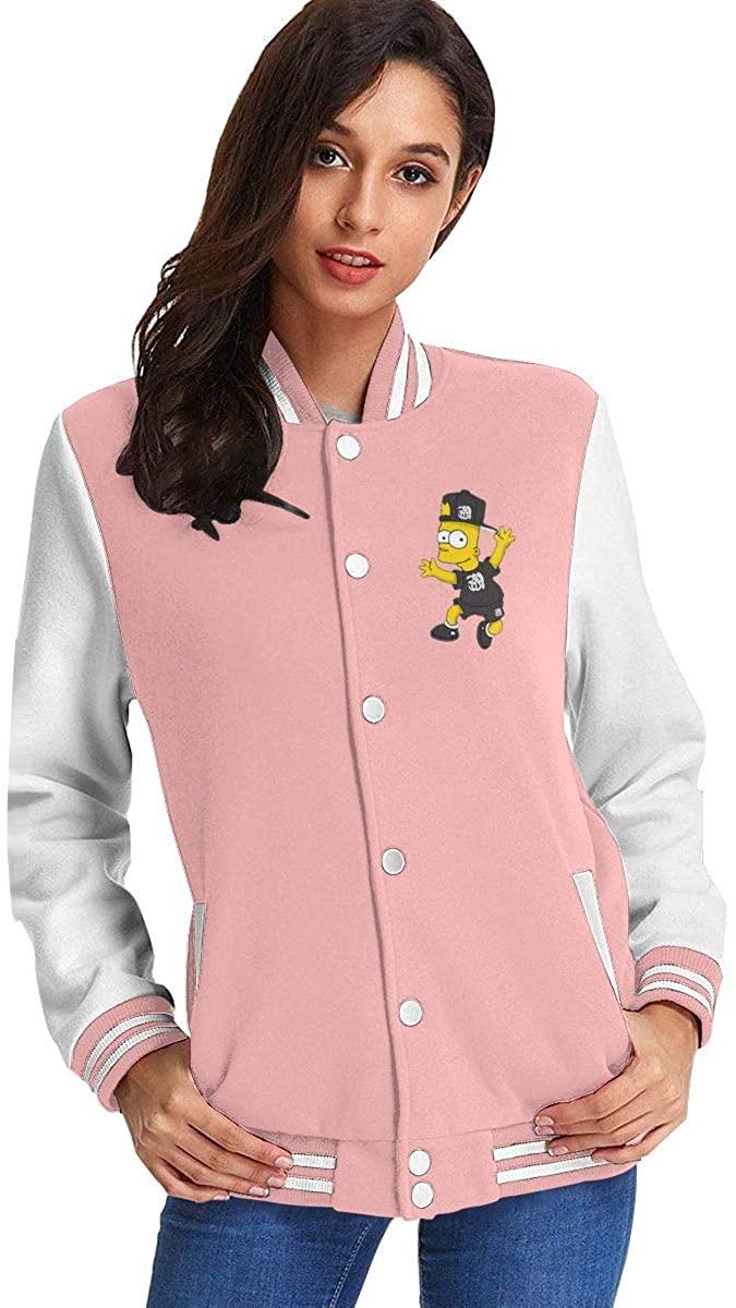 Bart Simpson Fashion Women's Casual Jacket Baseball Button Jacket