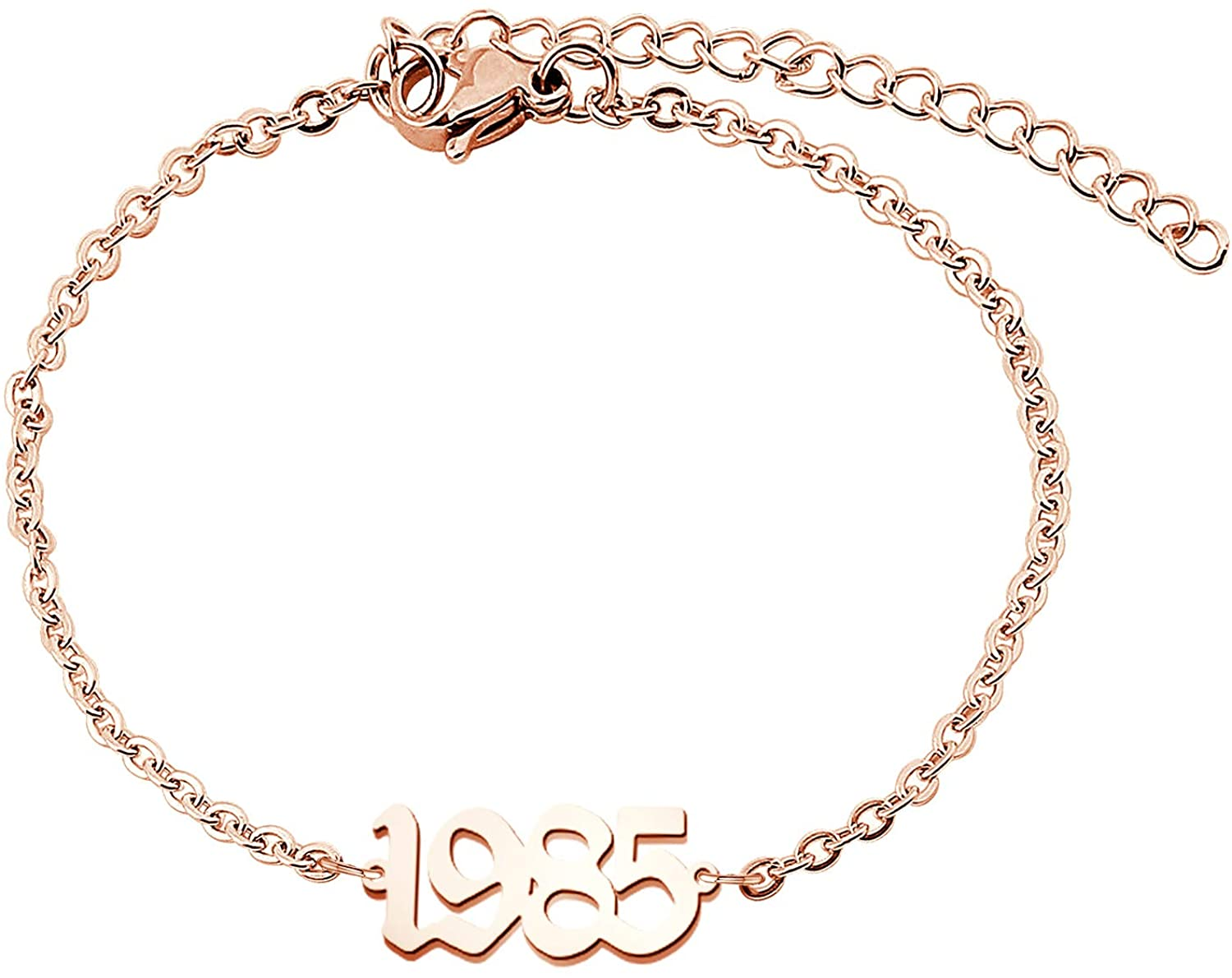 FAADBUK Birth Years Anklet Initial Year Number Rose Gold Pendant Anklets 1980-2020 Initial Year Number Anklet Old English Arabic Number Stainless Steel Friendship Ankle Bracelet