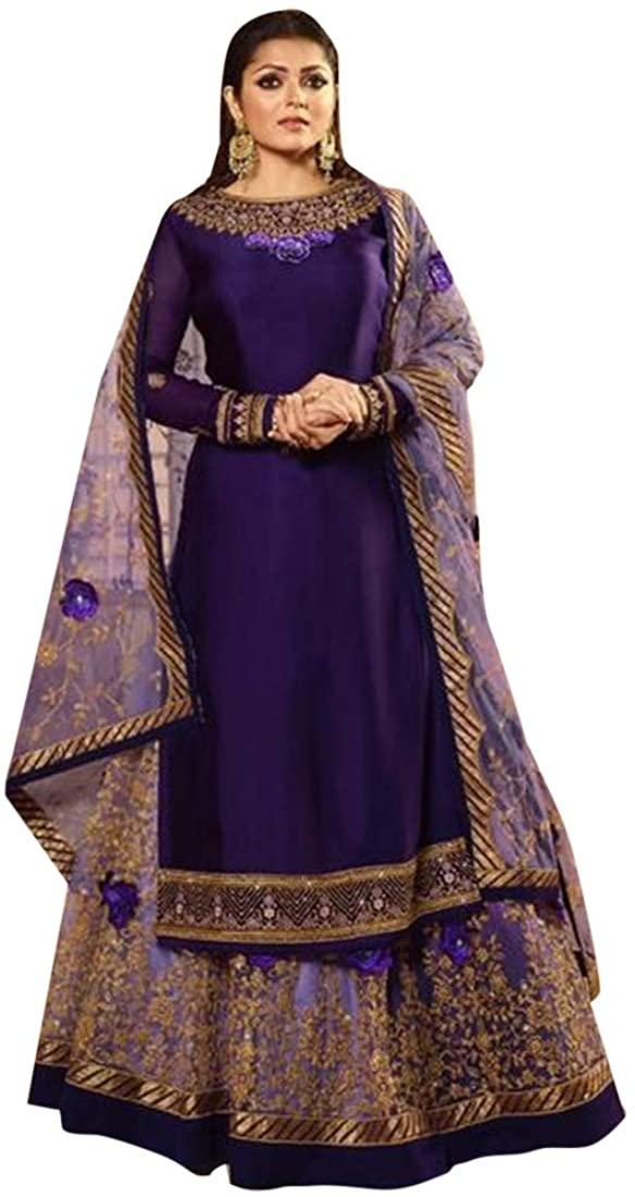 Diwali Festive Party wear Satin Georgette Indian Lehenga Salwar Kameez Dual Bottom Muslim Women Suit Custom To Measure 8651