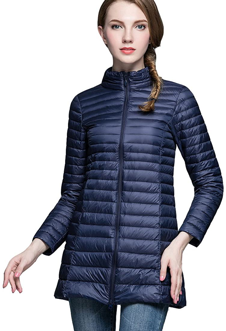 HZCX FASHION Women's Stand Collar Slim Fit Quilted Packable Long Down Coats