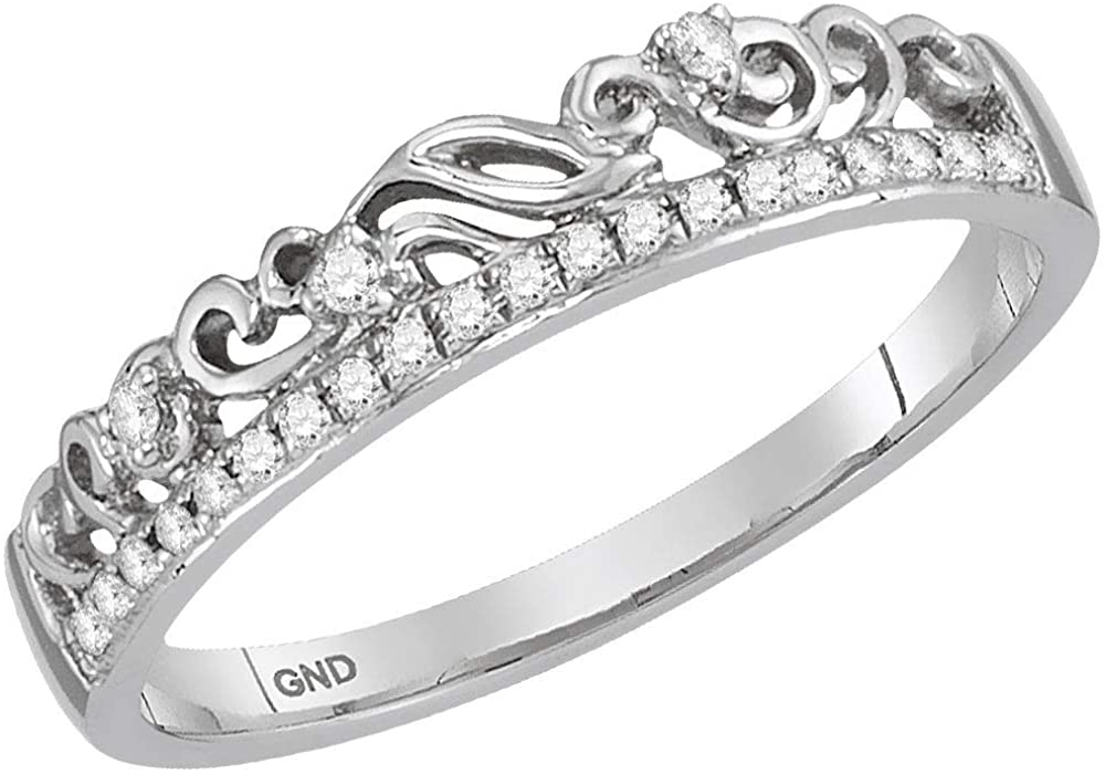 Diamond Floral Accent Fashion Ring Stackable Band Style 1/12ct 14k White Gold