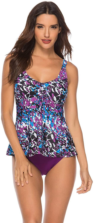 Wellwits Women's Camo Print Tank Top Tankini Swimsuit Swimwear Bathing Suit