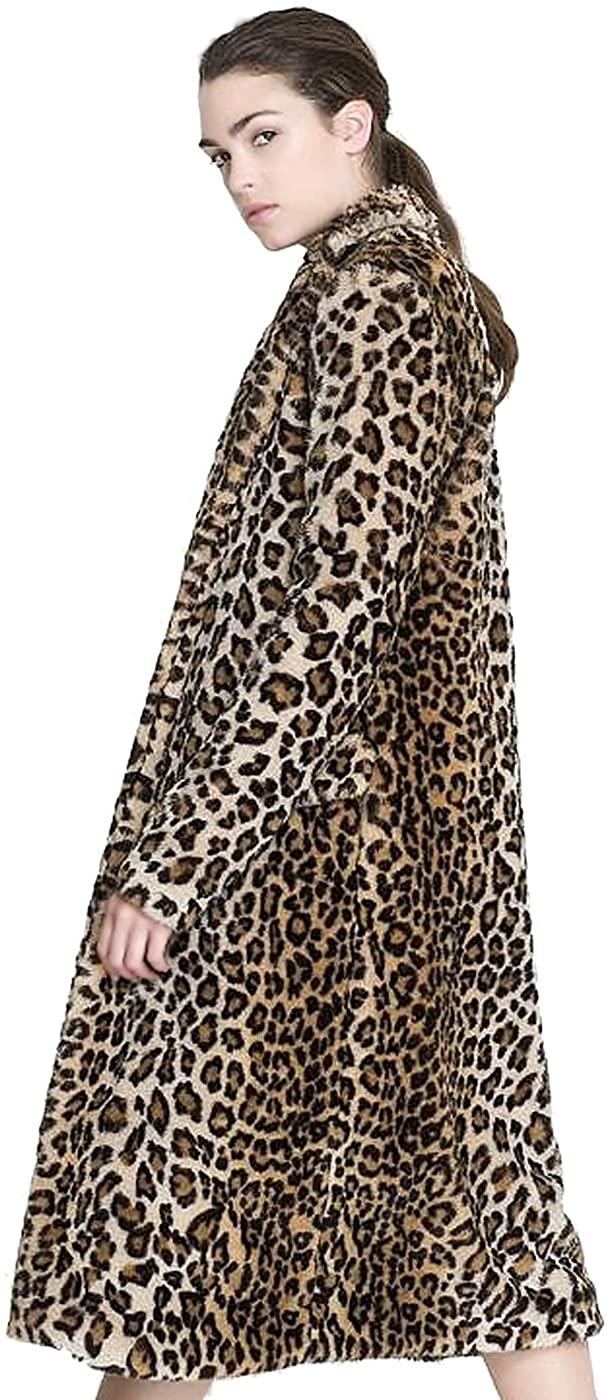 Aukmla Womens Faux Fur Coat Leopard Printed Long Lapel Jacket with Pockets