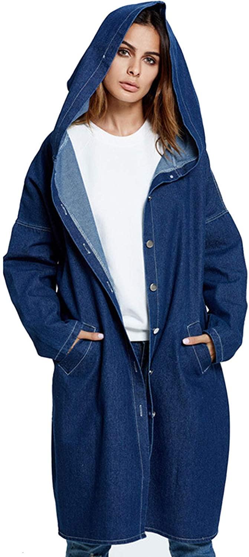 Flygo Women's Oversized Button Down Hooded Long Denim Jacket Jean Coat