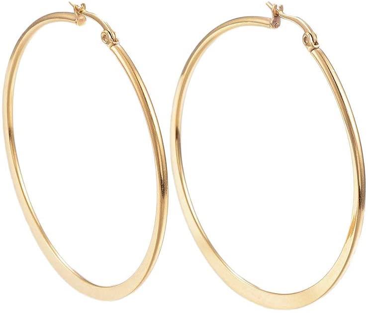 UNICRAFTALE 10 Pairs Stainless Steel Hoop Earrings 0.7x1mm Pin Golden Rounded Earrring Stainless Steel Large Plain Circle Hoop Earrings,49~50mm in Diameter