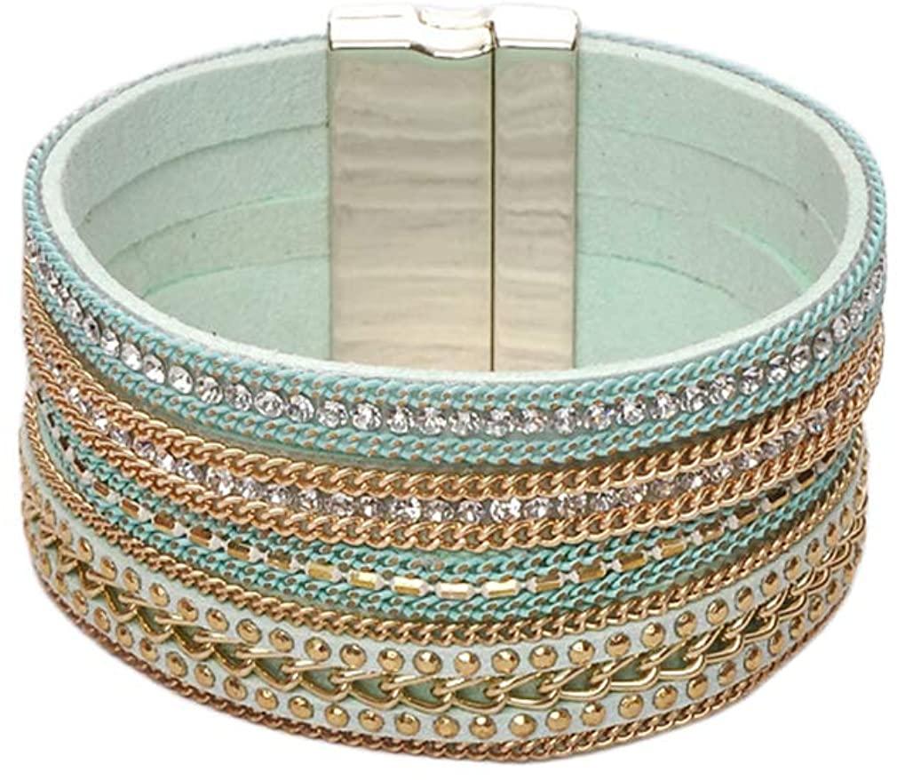 YAZILIND Magnetic Buckle Bracelet Multilayer Leather Wrap Bracelets Beads Cuff Bangle Women Wristband Jewelry-2Pcs