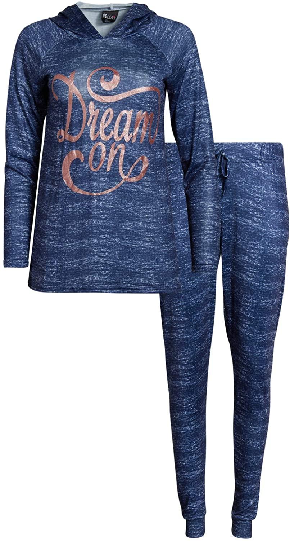 dELiAs Women's 2-Piece Ultra Soft Hooded Pajama Sleepwear Pant Set