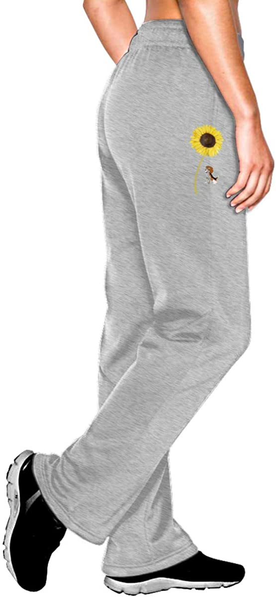 JINYOUR Sunflower Dog Beagle. Women Jogger Sweatpants Drawstring Waist Yoga Pants with Pocket