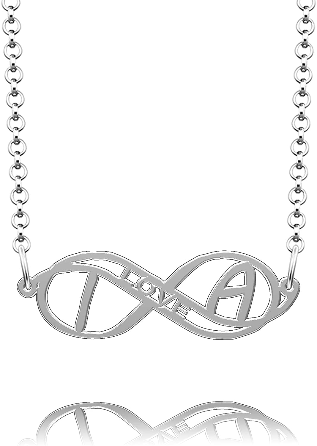 CLY Jewelry Sterling Silver Love Infinity Heart Initial Monogram Customized Any Name Necklace Gift for Christmas