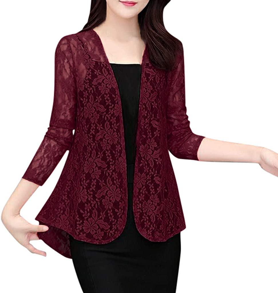 Women's 3/4 Sleeves Casual Cardigan Lace Blazer