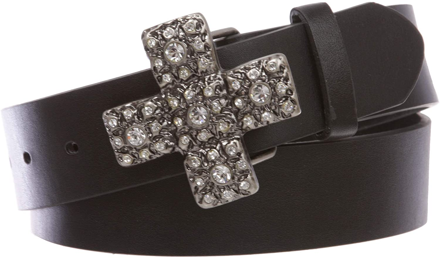 1 1/2 Snap On Cross Rhinestone Western Engraving Buckle With Leather Belt