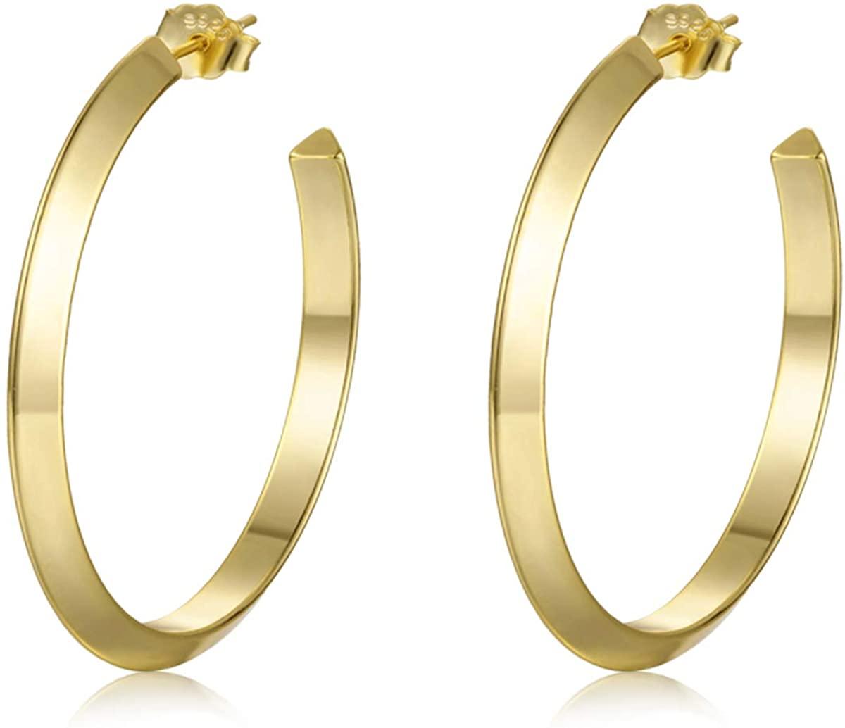LYTOPTOP Open Round Big Hoop Earrings for Women Hypoallergenic 925 Sterling Silver Post