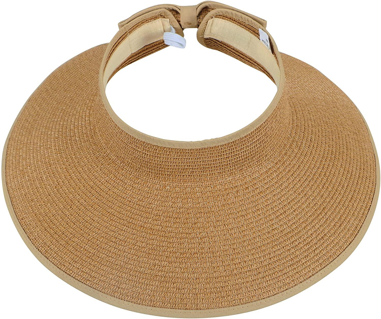 Simplicity Women's Roll Up Striped/Ribbed Wide Brim Straw Sun Visor