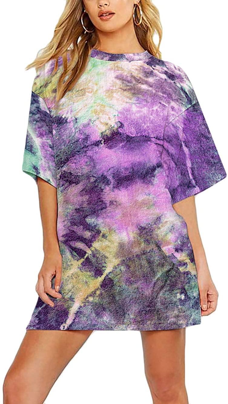 Kaei&Shi Tie Dye Shirt Women,Oversized Tshirt Women,Summer Casual Over Sized T Shirt,Pastel Tye Dye Printed Tee Tops