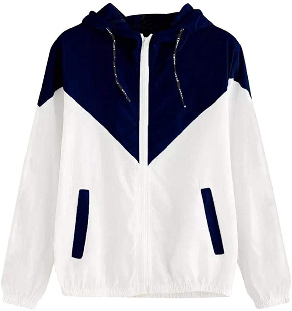 terbklf Women's Color Block Stripe Raincoat Casual Thin Drawstring Hooded Zip up Sports Rain Jacket Windproof Windbreaker
