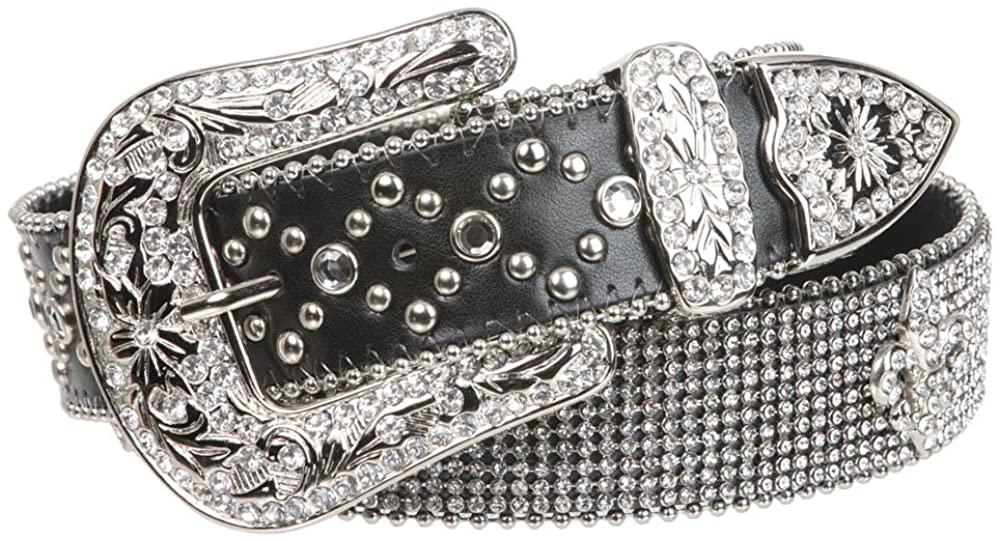 Snap on Western Cowgirl Rhinestone Fleur De Lis Leather Belt